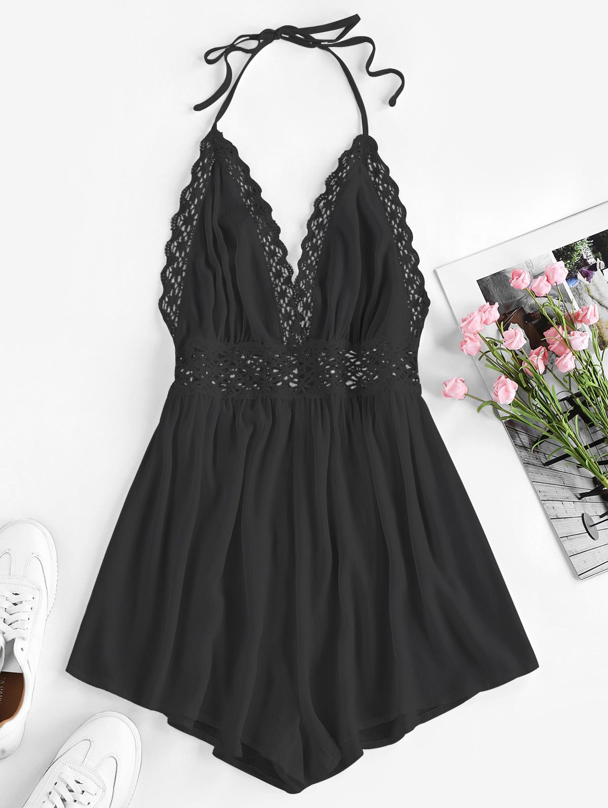 ZAFUL Halter Crochet Hollow Out Backless Romper