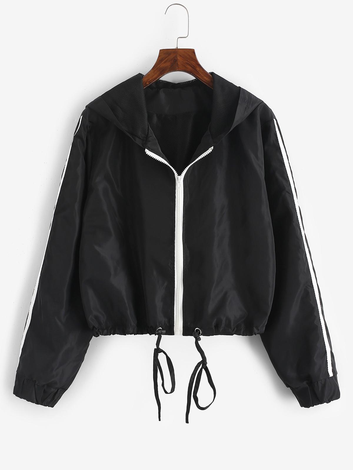 Hooded Side Striped Mesh Lining Windbreaker Jacket