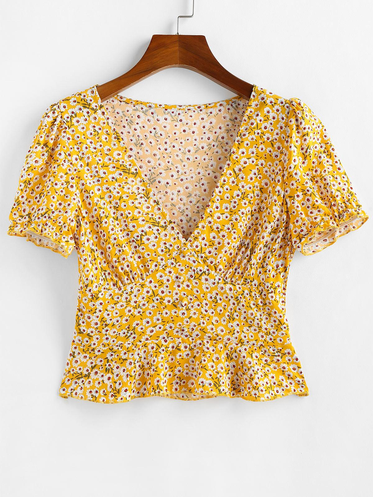 ZAFUL Ditsy Floral Flounce Short Sleeve Blouse