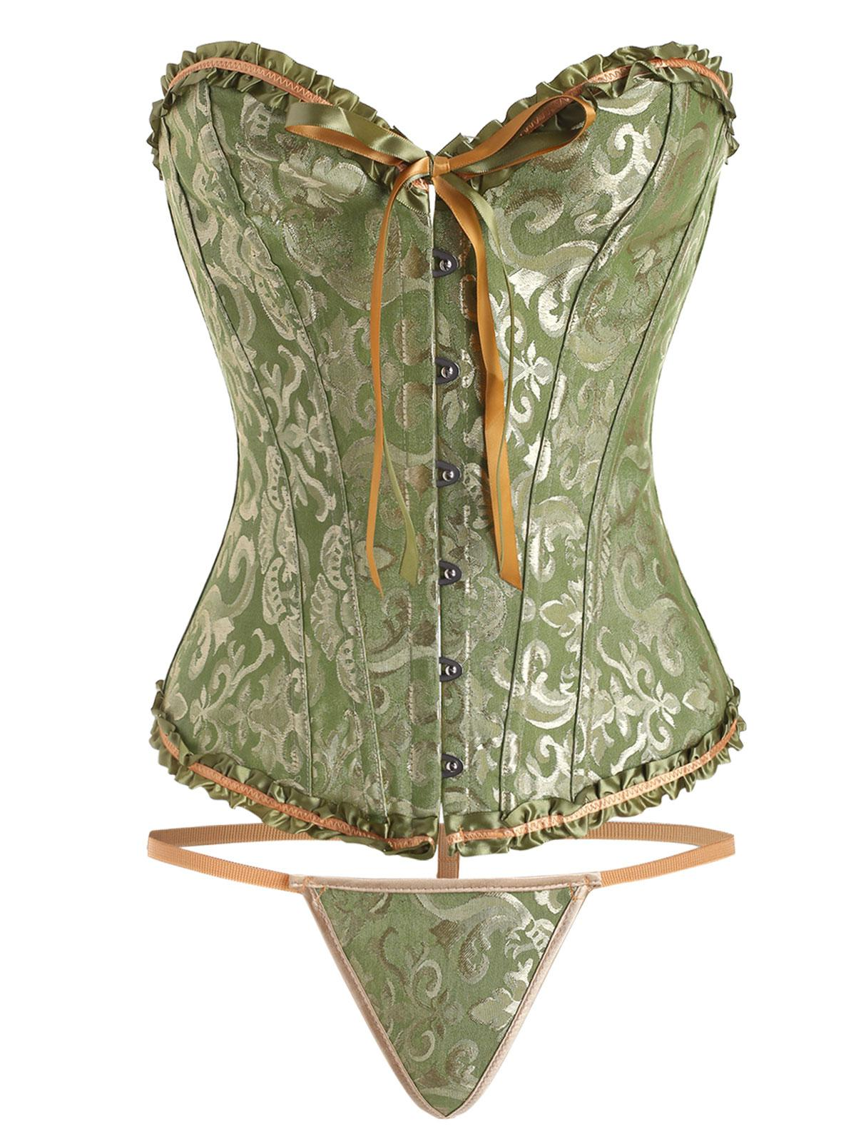 Jacquard Frilled Boning Overbust Corset with G-string