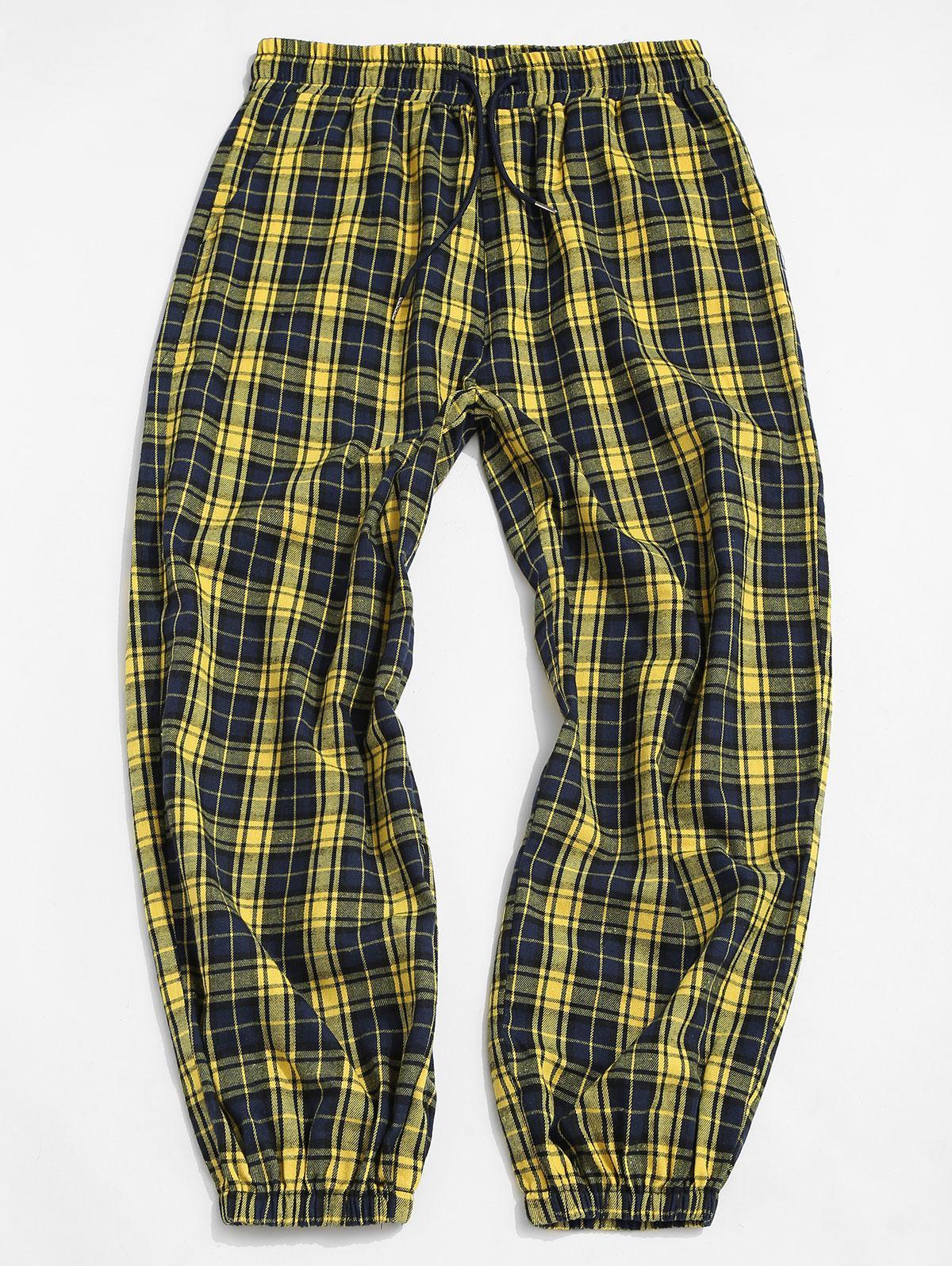 51 Off 2021 Pantalones Casuales Elasticos De Cuadros En Amarillo Zaful America Latina