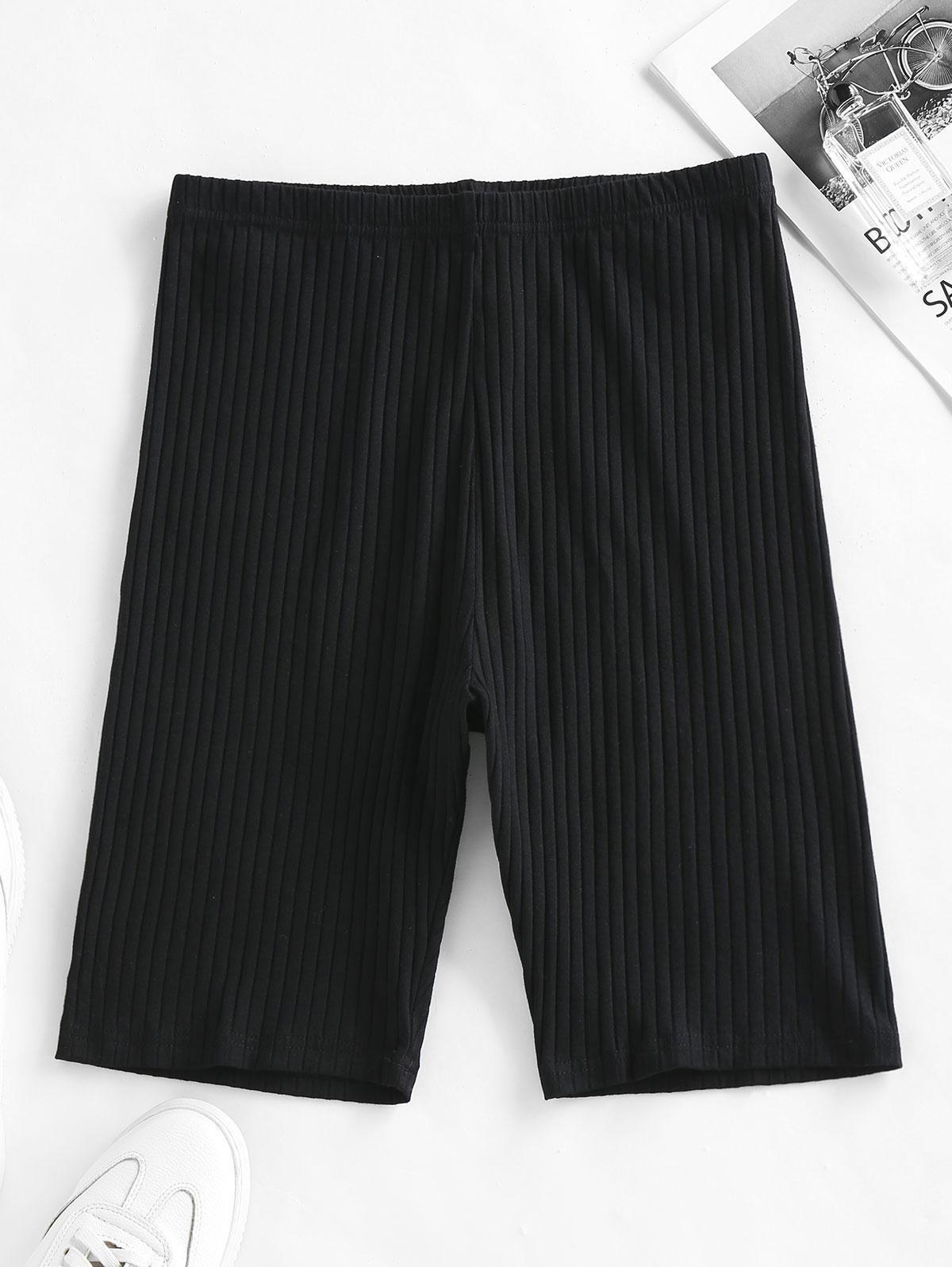 ZAFUL Ribbed High Waisted Biker Shorts