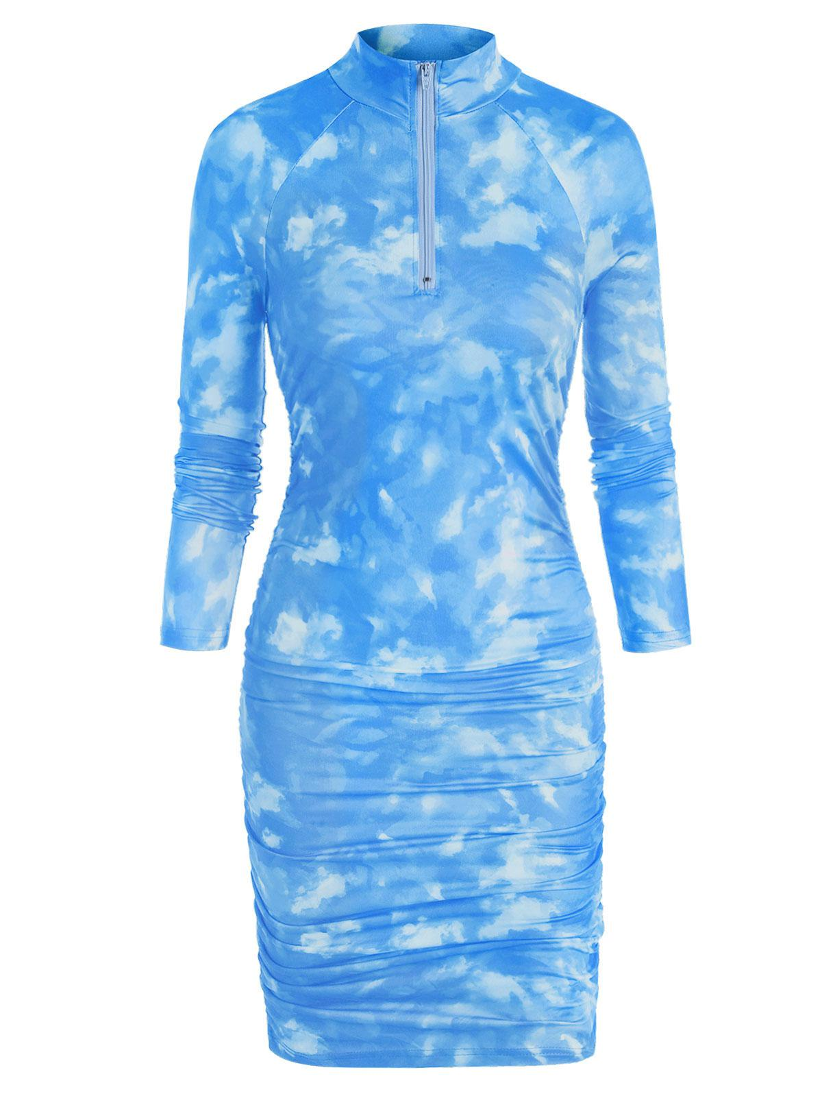 Zip Front Tie Dye Gathered Mini Dress