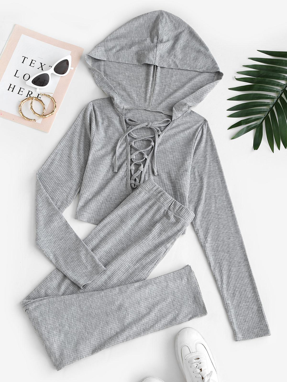Ribbed Lace Up Hooded Skinny Pants Set