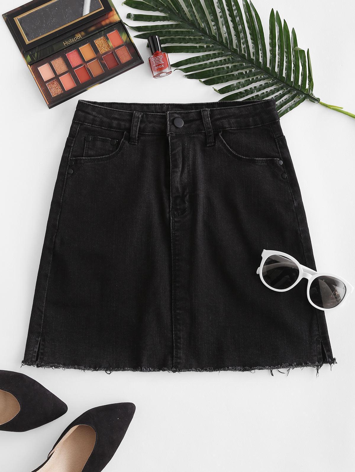 Frayed Hem Sheath Denim Skirt
