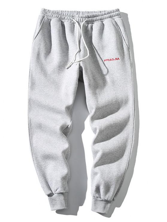 buy Embroidery Letter Drawstring Jogger Sweatpants - LIGHT GRAY 2XL