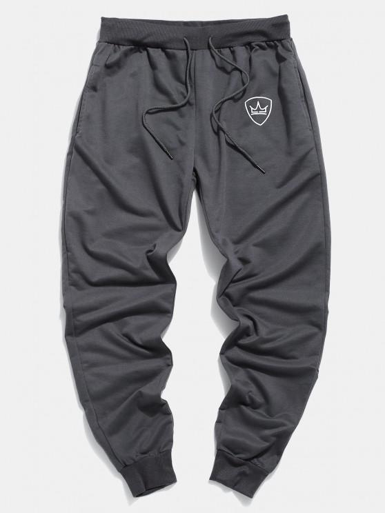 Pantalones Trotar Corona Cordón Ajustable Bolsillo - Gris Oscuro XS