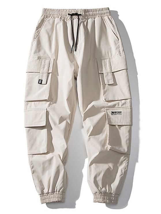 Jogger Pantalones de Solapa de Multi-Bolsillos de Solapa - Caqui XL