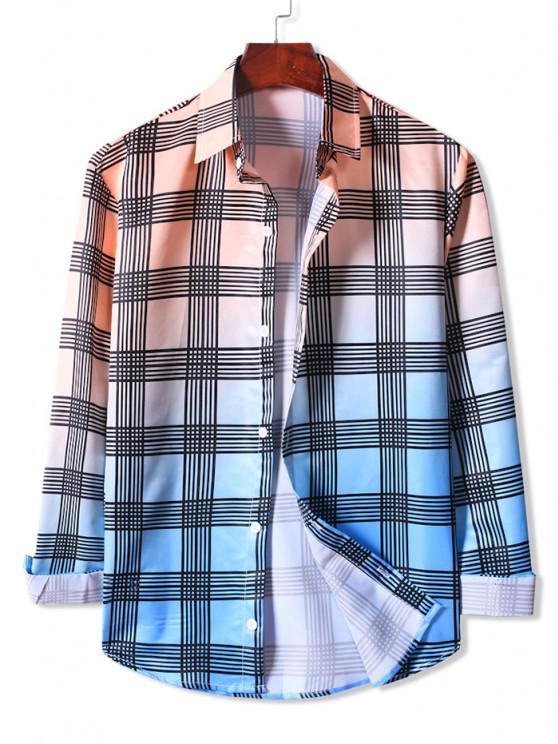 outfits Ombre Plaid Print Button Up Shirt - APRICOT 2XL