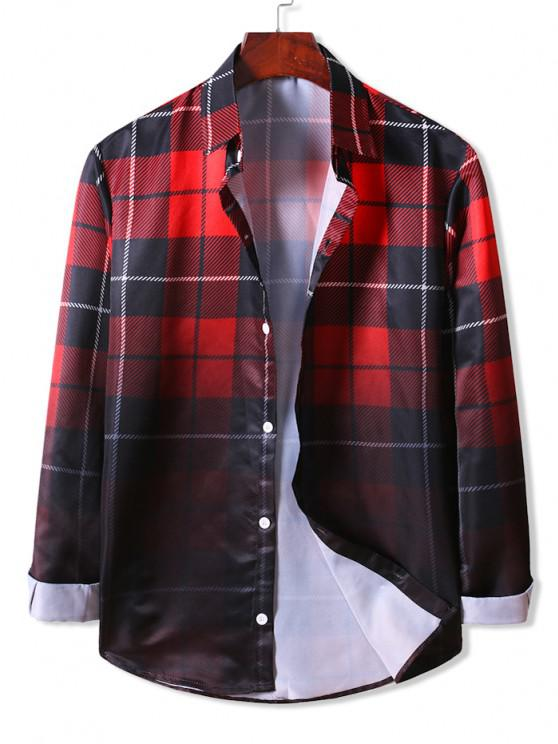 shops Ombre Plaid Long Sleeve Shirt - LAVA RED 2XL