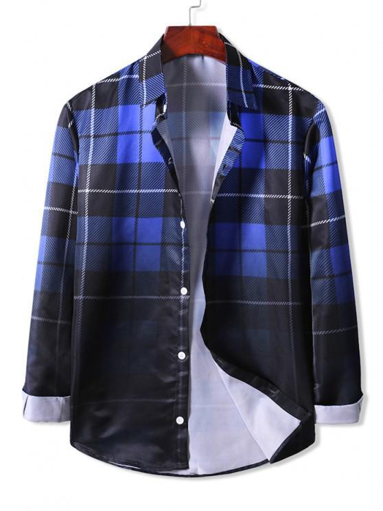 Camisa Simples de Manga Longa - Azul Escuro S