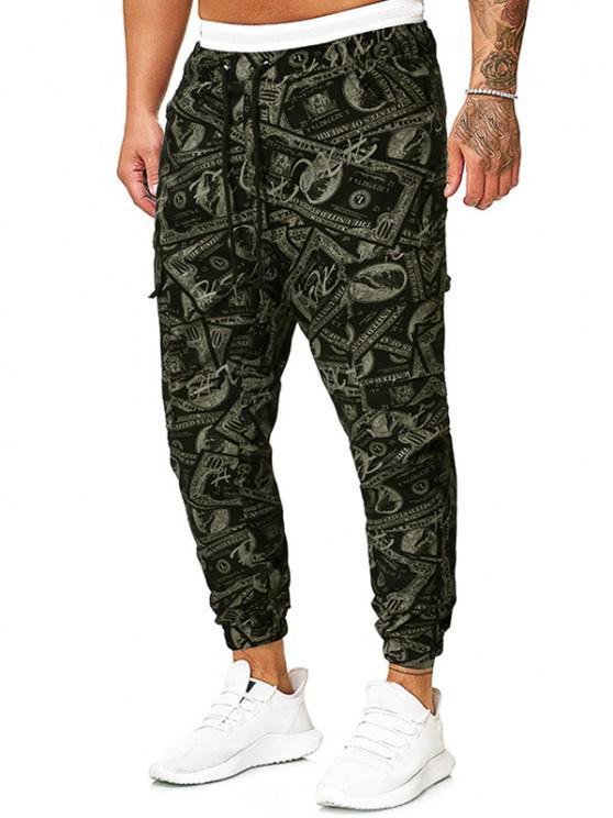 Pantalones Lápiz Ajustados Diseño Impreso Dinero Papel - Verde Camuflaje L
