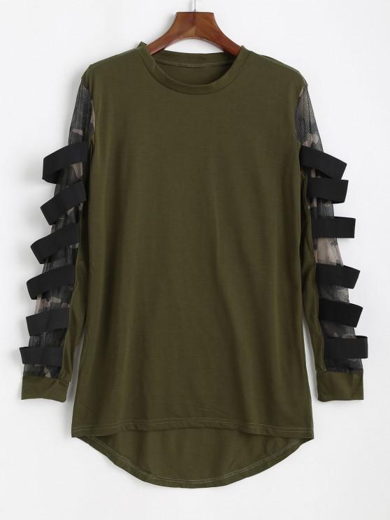 ladies Mesh Insert High Low T-shirt - ARMY GREEN M