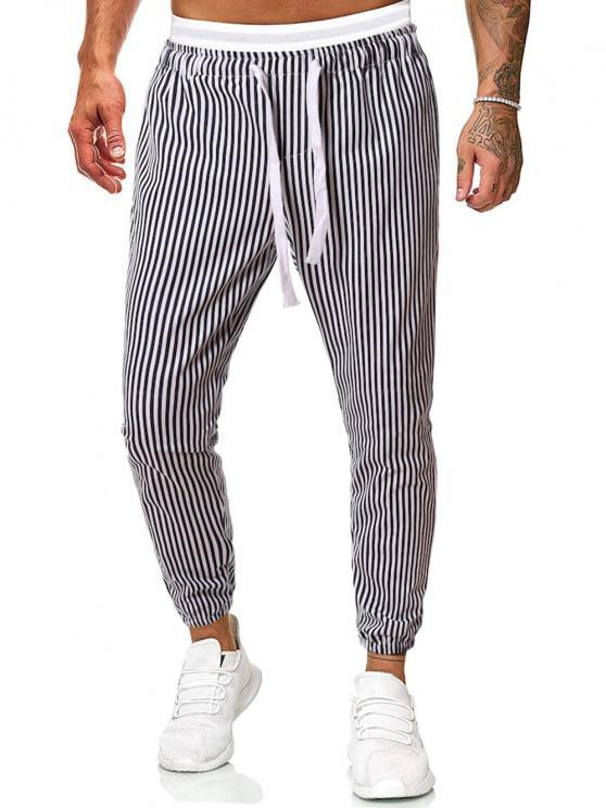 34 Off 2021 Pantalones Casuales Estampados Rayas Verticales En Negro Zaful Espana