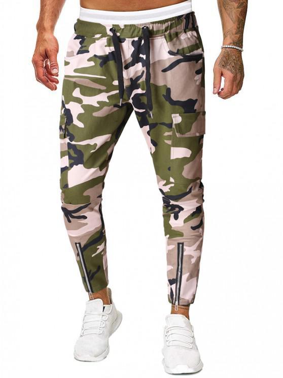 Camo Print Zipper Hem Drawstring Casual Pencil Pants - التمويه الأخضر L