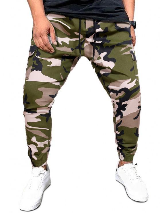 Camo Print Flap Pockets Drawstring Cargo Pants - التمويه الأخضر XL