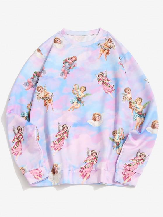 ladies Tie Dye Print Renaissance Art Pullover Sweatshirt - MULTI XL