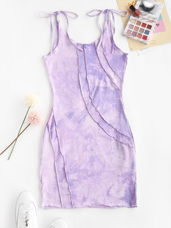 chic Tie Shoulder Tie Dye Stitching Mini Dress - PURPLE FLOWER M