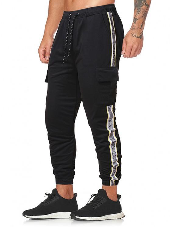 Pantalones Lápiz con Bolsillos de Solapa y Estampado de Letras - Negro XL