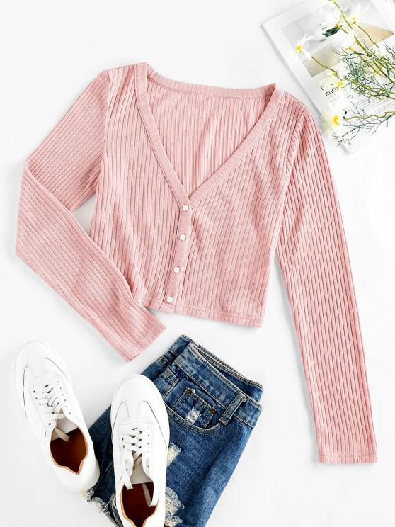 unique ZAFUL Ribbed Knit Crop Cardigan - PIG PINK M
