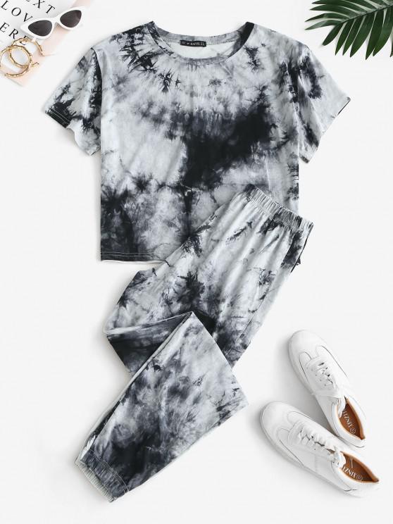 sale Sweat Tie Dye Two Piece Pants Set - GRAY M