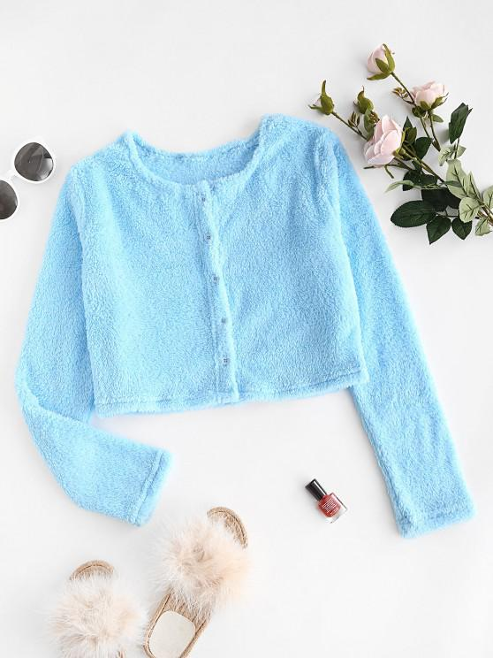 fashion Button Up Fluffy Cropped Top - DEEP SKY BLUE L