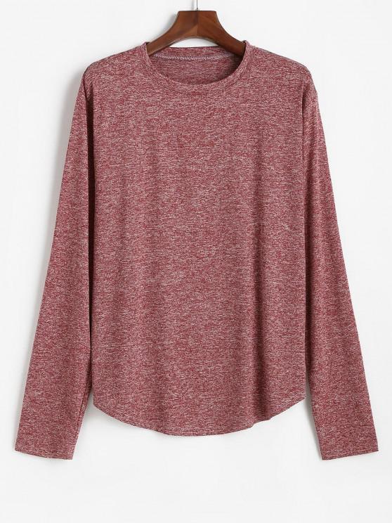Long Sleeve Curved Hem Heathered T-shirt - نبيذ احمر XL