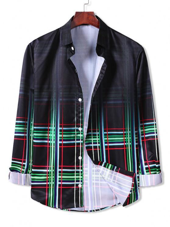 latest Ombre Plaid Long Sleeve Button Down Shirt - CLOVER GREEN 2XL