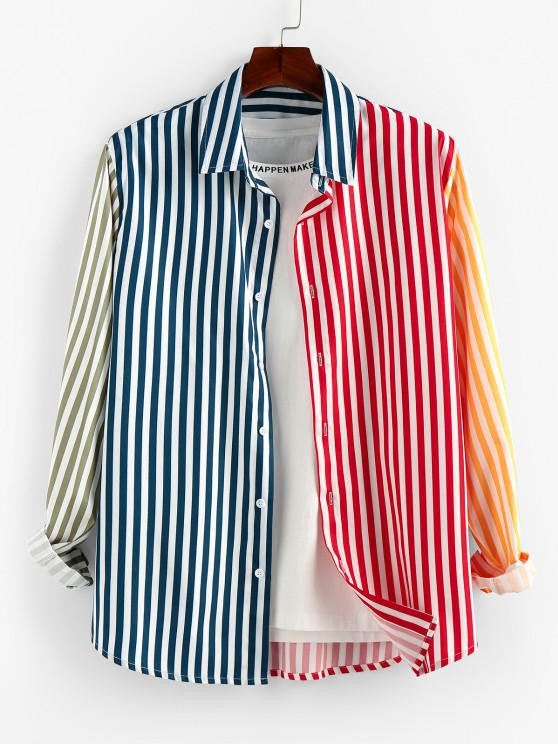 outfits ZAFUL Contrast Striped Print Button Up Shirt - MULTI S