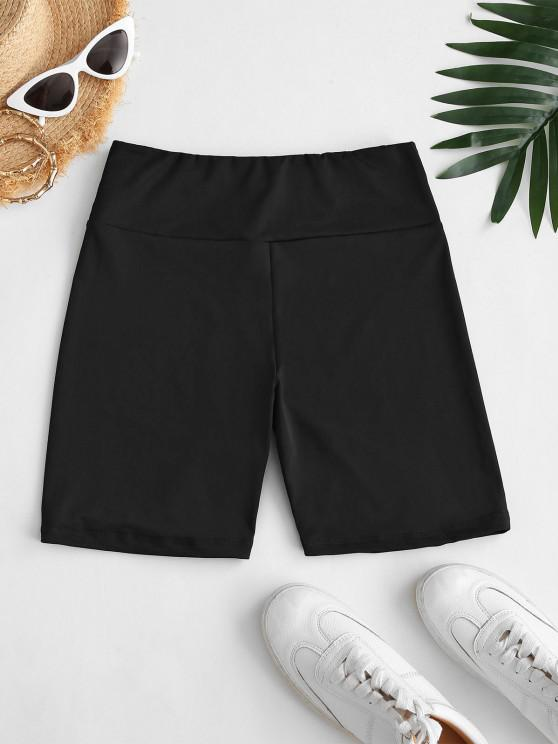 chic High Waisted Plain Shorts Leggings - BLACK S