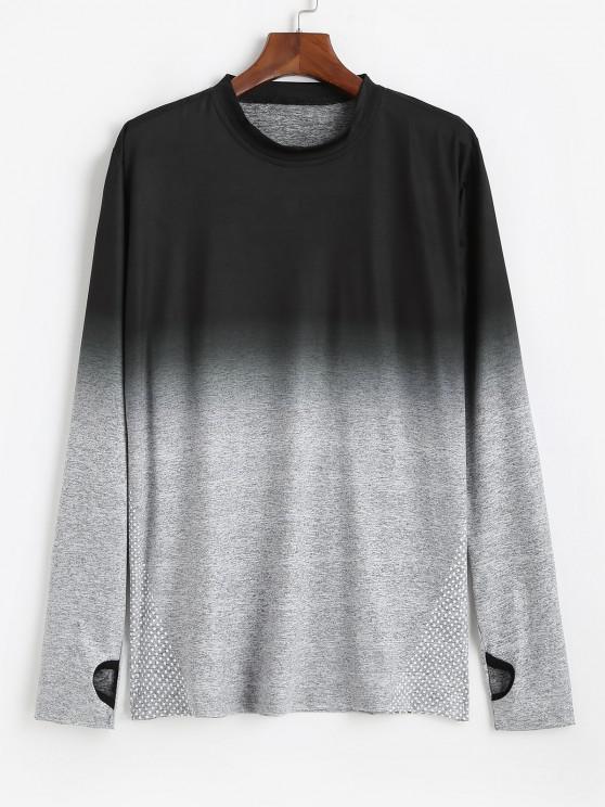Long Sleeve Polka Dot Dip Dye Print T-shirt - رمادي فاتح S