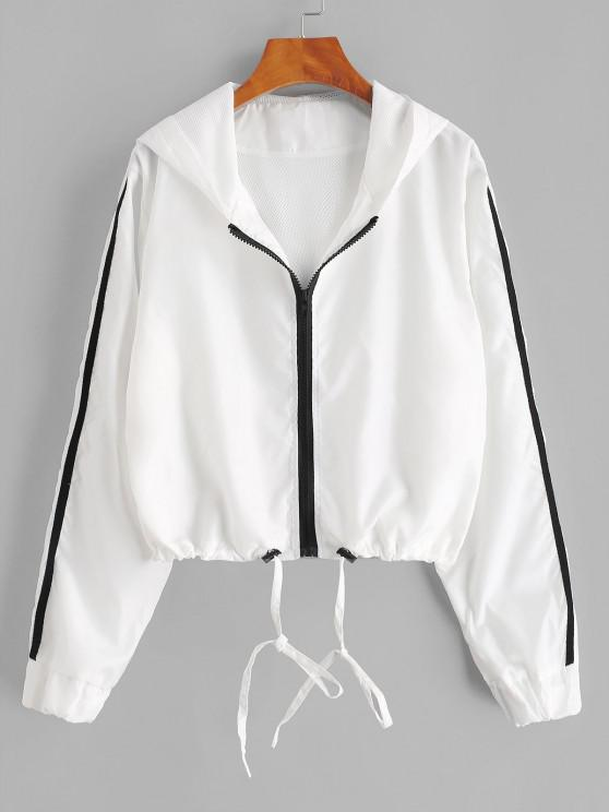 buy Hooded Side Striped Mesh Lining Windbreaker Jacket - WHITE XL