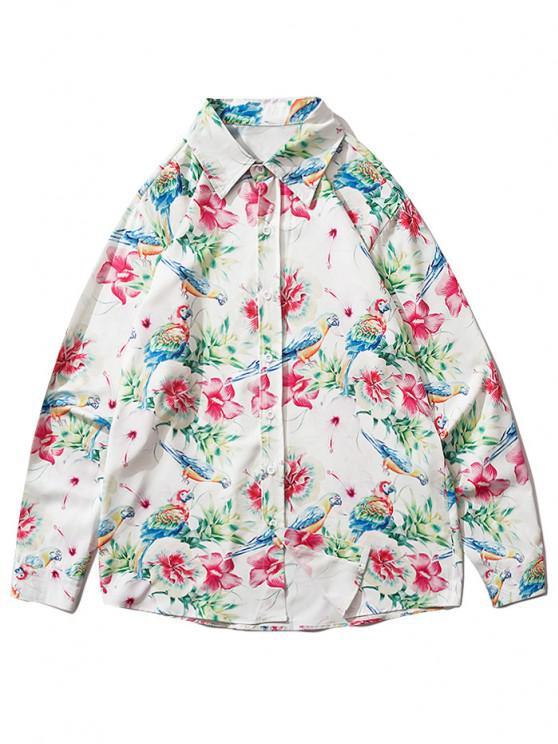 best Flower Parrot Print Button Up Shirt - VALENTINE RED XL
