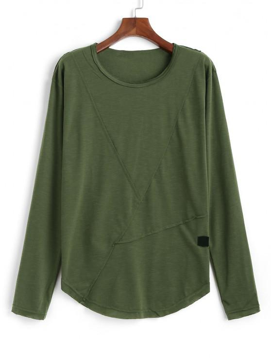outfits Long Sleeve Applique Curved Hem T-shirt - ARMY GREEN XL