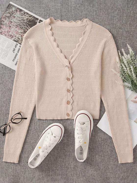 Button Up V Neck Crop Cardigan - الشمبانيا الذهب M
