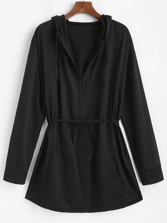 Hooded Open Front Toggle Drawstring Jacket - أسود 3XL