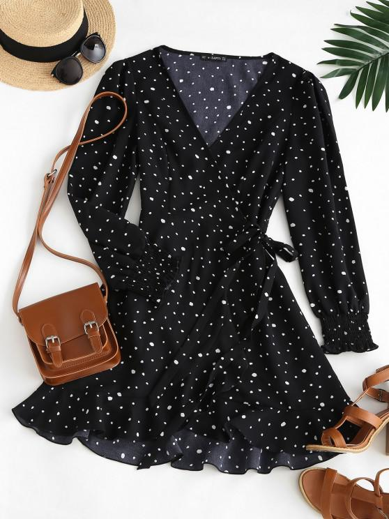 trendy ZAFUL Speckled Smocked Cuff Ruffle Wrap Dress - BLACK S