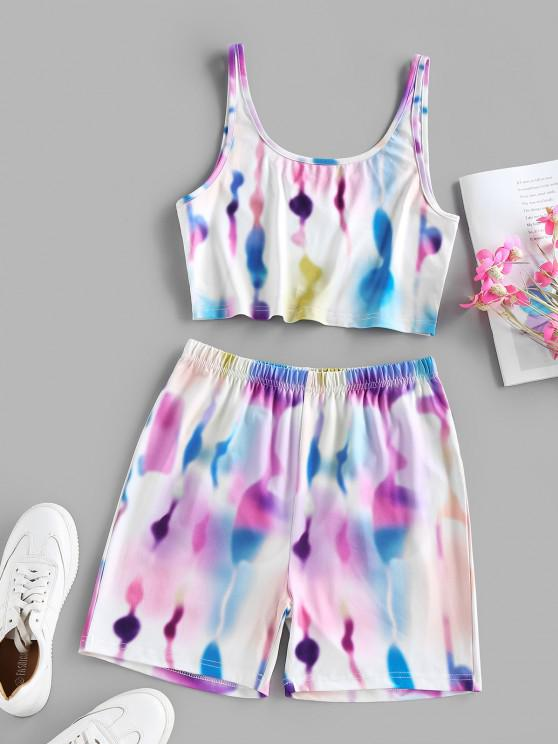 best ZAFUL Tie Dye Sleeveless Biker Shorts Set - MULTI S