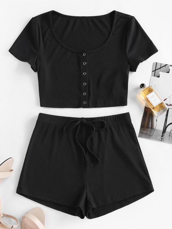 buy ZAFUL Lounge Ribbed Snap Button Bowknot Shorts Set - BLACK L