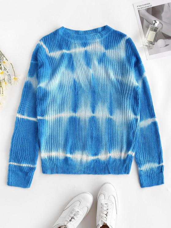 Suéter de Gola Redonda com Laço na Cintura - Oceano Azul M