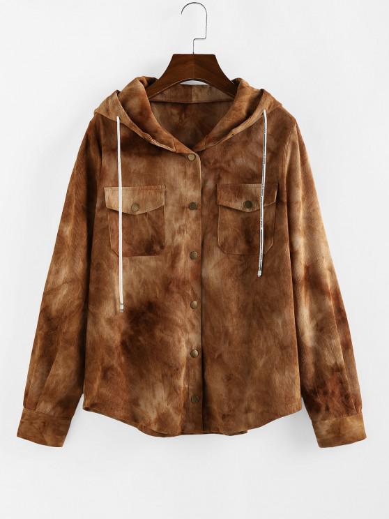 ZAFUL Corduroy Tie Dye Pocket Hooded Jacket - أسمر L