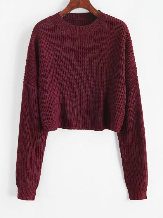 women's Plain Cropped Oversized Sweater - FIREBRICK M