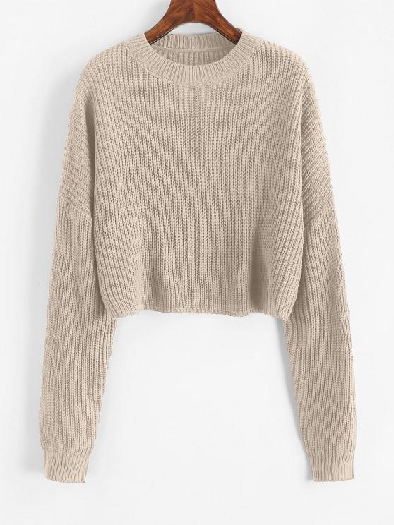 Plain Cropped Oversized Sweater - الشمبانيا الذهب M