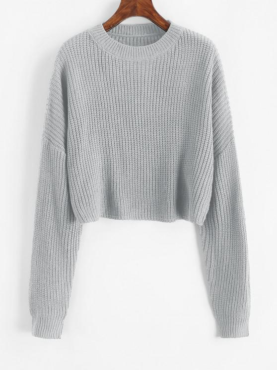 outfit Plain Cropped Oversized Sweater - GRAY CLOUD M