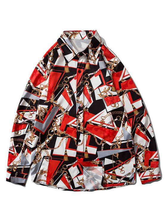 women Baroque Chain Graphic Long Sleeve Shirt - LAVA RED M
