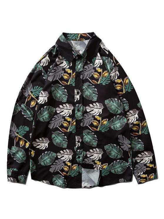 fashion Tropical Leaf Print Button Down Shirt - BLACK M