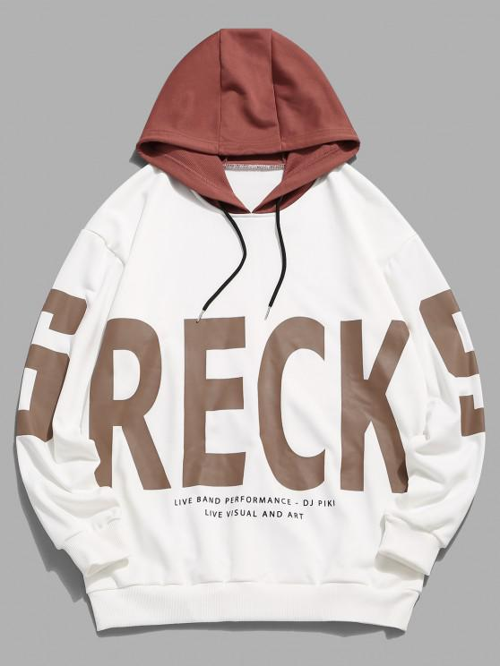shops Colorblock Letter Print Hoodie - WHITE XS