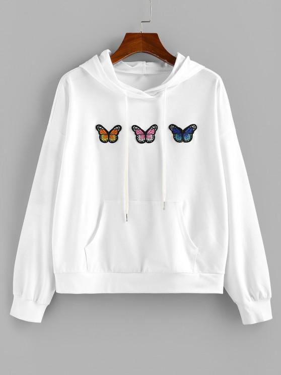 ZAFUL Butterfly Applique Drop Shoulder Kangaroo Pocket Hoodie - أبيض S