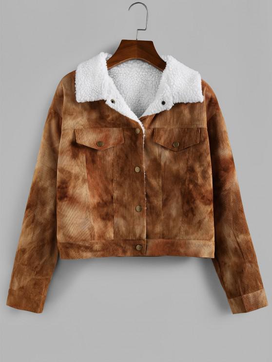 womens ZAFUL Tie Dye Corduroy Drop Shoulder Fleece Lining Jacket - CAMEL BROWN M