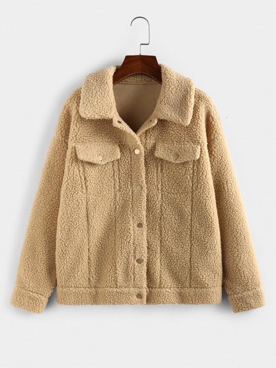 affordable ZAFUL Faux Fur Drop Shoulder Button Up Coat - KHAKI M